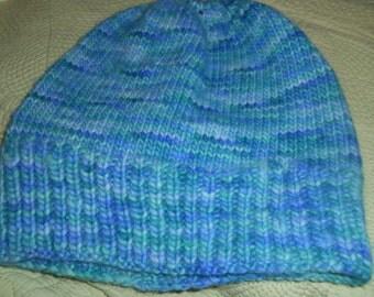 Hand knit knitted watch cap beanie skullcap hat Malabrigo merino blue green seaglass men women teens wool Hand dyed
