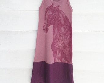 Size: 1/2 Girls Wine Horse Tank Dress