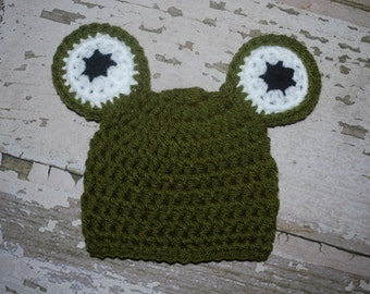 baby frog hat, newborn hat, crochet frog hat, infant frog hat, frog outfit, halloween costume, baby girl beanie, boy, froggy hat, photo prop