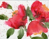 painting original watercolor SFA portrait CORAL poppies