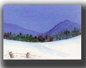 ACEO watercolor WINTER blues original painting SFA miniature dollhouse mini