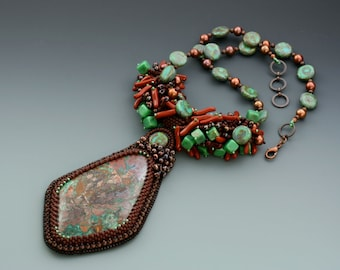 Bead Embroidered Necklace. Chrysocholla.