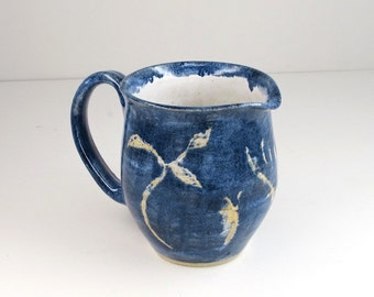Hand Thrown Stoneware Pitcher Blue, White Horse Pottery