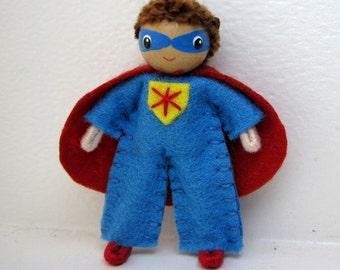 Hero Boy Bendy Doll by Princess Nimble-Thimble, Super Powers, Felt Bendable Doll, Waldorf Bendable Felt Doll, Nature Table, Dollhouse