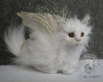 Cat Doll Art Fairy White OOAK