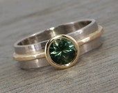Sapphire Ring - Fair Trade Australian Teal-Blue-Green Sapphire, Recycled 14k Yellow Gold, 18k Palladium White Gold - Engagement - size 5.75