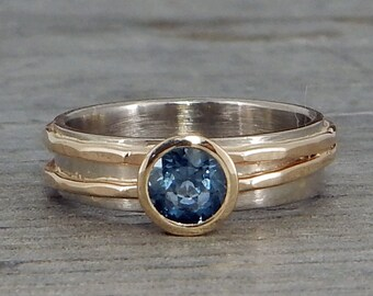 Sapphire Ring - Fair Trade Malawi Blue Sapphire, Recycled 14k Yellow Gold, 14k Palladium White Gold - Wedding/Engagement - Made to Order