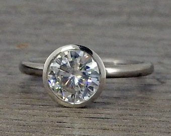 Forever One DEF Moissanite Engagement Ring with Peekaboo Bezel Setting - Recycled 950 Palladium, Eco Friendly, Conflict Free, Made to Order