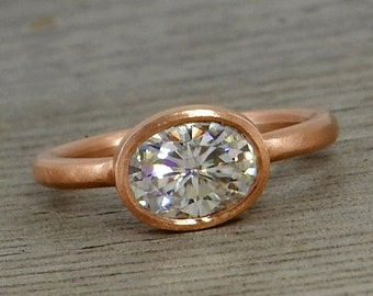 Oval Moissanite Ring - Forever Brilliant - Recycled 14k Rose Gold Alternative Engagement Ring, Matte/Brushed, Eco-Friendly, size 5.75