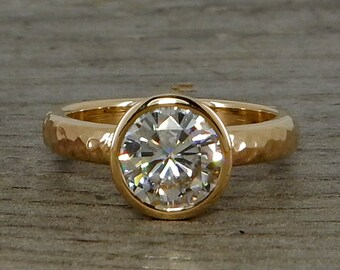 Moissanite Engagement Ring, Forever One G-H-I, Recycled 14k Yellow Gold, Solitaire, 1.5 Carat Equivalent, Conflict-Free, Made To Order