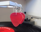 Red Vinyl Record Earrings - Handmade Guitar Picks made from Vinyl Records - Fashion Gift for Rockers, Musicians - Hit Record Earrings