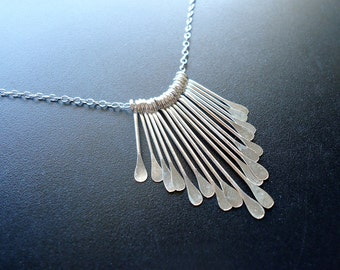 "Sterling Silver Paddle Necklace, 17"", Ultra Fine Chain, Graduated Dangle"