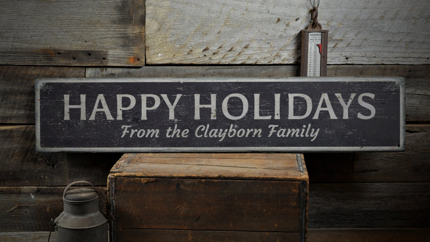 Holidays Wood Sign Custom Happy Holiday Greetins From Family