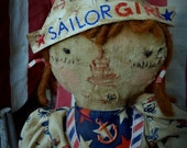 VERY Primitive, EXTREMELY Primitive, Sailor Girl, Raggedy Ann, Red, White, Blue, TeamHAHA, Hafair, Old Cloth, Rag Doll, Antique, Vintage, Do