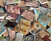 Mosaic Tiles Pieces Broken Plate Art Hand Cut Vintage China Mix Flowers Retro Tile