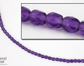 4mm Transparent Violet Fire Polished Bead (50 Pcs)  #FPX086