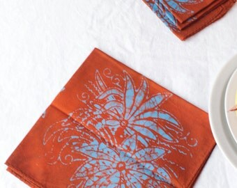 orange and sky blue chrysanthemum cloth napkins