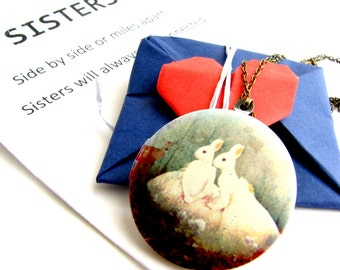 Twin sister jewelry- Bunny necklace, Sister necklace, Photo locket necklace, Sister Gift, Birthday gift for twin sisters, Sisters jewelry