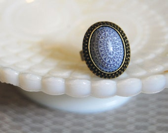 Scandinavian grey lavender  and White mosaic ring- antiqued brass