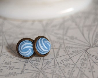nautical knots vintage framed post earrings- blue and white
