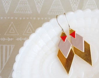 boho desert style enamel and raw brass diamond dangle earrings - geometric