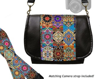 SET Vegan Black Leather DSLR Camera Bag and Camera Neck Strap, Persian Patchwork, Boho,  Bohemian, Asian, Colorful jewel tones, zipper MTO