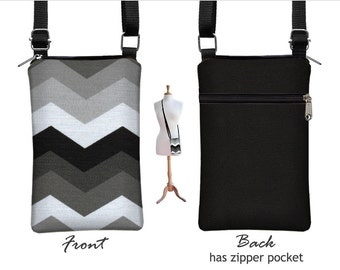 iPhone 6 / Plus Case Sling Bag Grey Chevron Fabric Cell Phone Purse Small Cross Body Bag, Zipper Pocket, black white gray RTS