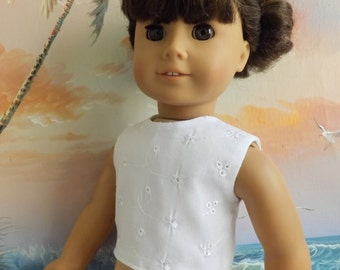 18 Inch Doll Clothes White Cotton Eyelet Modified Crop Top NEW Style