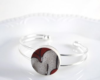 Recycled China Cuff Bracelet - Red Japanese Modern