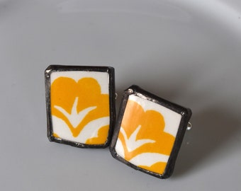 Broken China Cuff Links - Yellow and White