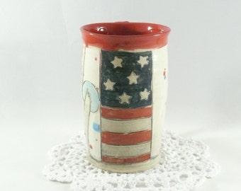 Military Stars and Stripes Pottery Mug, Hand carved big ceramic coffee mug American Eagle + Flag, ceramic cup, stoneware mug, beer stein 375