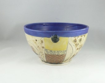 Serving bowl - Ceramic Salad Bowl in Cobalt Blue - Large Family Size Bowl - Kitchen Dinnerware -  Colorado Pottery