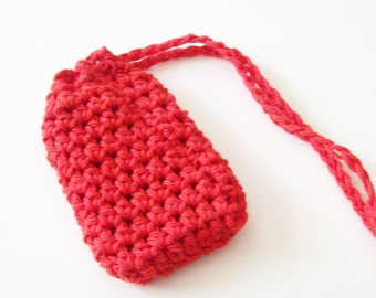 Red Cotton Crochet Soap Saver, Crochet Soap Sack, Crochet Soap Bag, Reusable, Ecofriendly