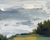 acrylic painting, landscape painting, grey sky, wall art, green landscape, green and grey
