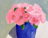 flower painting original acrylic painting pink carnations pink and blue art wall art
