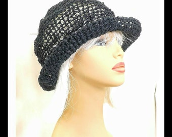 Black Crochet Hat Womens Hat, Summer Hat for Women, Crochet Wide Brim Hat, Hemp Cord Hat, Black Hat, Boho Hat, Hemp Sun Hat, MONCHERIE