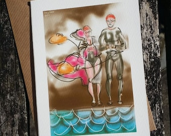 greetings card: 'March Winds' - art card, open water swimming, winter swimming