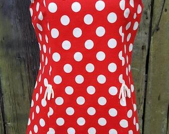 60s Mod Red Polka Dot Tunic Mini Dress