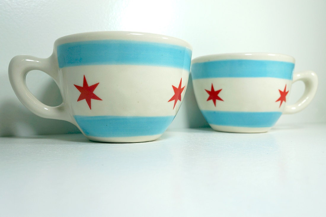 One (1) fabulous chicago flag 20oz cup/mug. Made to Order.