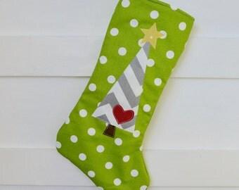Green Christmas Stocking - Modern Christmas Stockings - Lime Green Stocking - Christmas Stockings - Holiday Stocking - Polka Dot Stocking