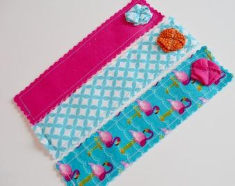 Fabric Bookmarks - Modern Bookmarks - Kids Bookmarks - Book Lover Gift - Inexpensive Teacher Gift - Flamingo Bookmark - Girls Bookmark