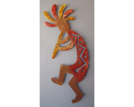 ExtraLarge Southwest Art Left Facing Flute Kokopelli Wall Hanging Rusted with Accents, 47 inch