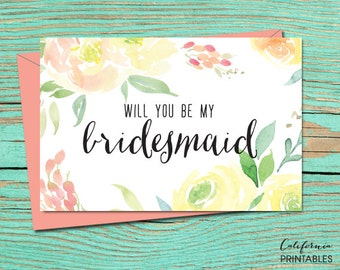 Will You be My Bridesmaid PRINTABLE CARD, Wedding Party Invitation, Bridesmaid Proposal, DIY Instant Download Card, Bridesmaid Printable 16B