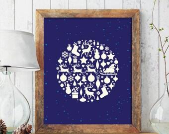 Christmas PRINTABLE ART, Christmas Art, Christmas Decoration, Winter Decor, Holiday Decor, Christmas Print, Wreath, Christmas Printable 214