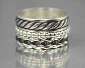Sterling Silver Bohemian Stacking Rings Set of 3
