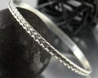 Detailed Sterling Silver Bangle, Stacking Bracelet