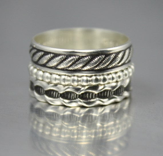 boho rings hippie jewelry sterling silver stacking rings 3