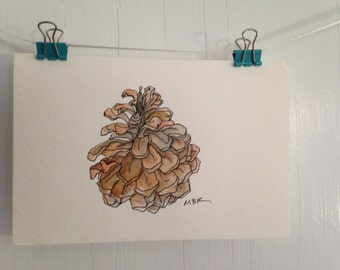 Original Pine Cone Watercolor Painting, Small Pine Cone Painting, Nature Watercolor, Small Postcard Painting, Wall Decor, 4 x 6 inches