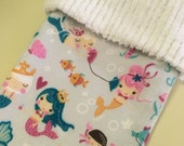 Sweet Flannel Mermaids with Sea Creatures and Chenille Handmade Christmas Stocking with FREE U S SHIPPING