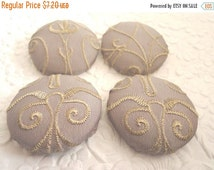 CLEARANCE Lavender  buttons,  scroll buttons, fabric buttons, embroidered button, size 60 buttons, set of 4 buttons